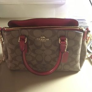 Coach Monogram Red and Brown Bag
